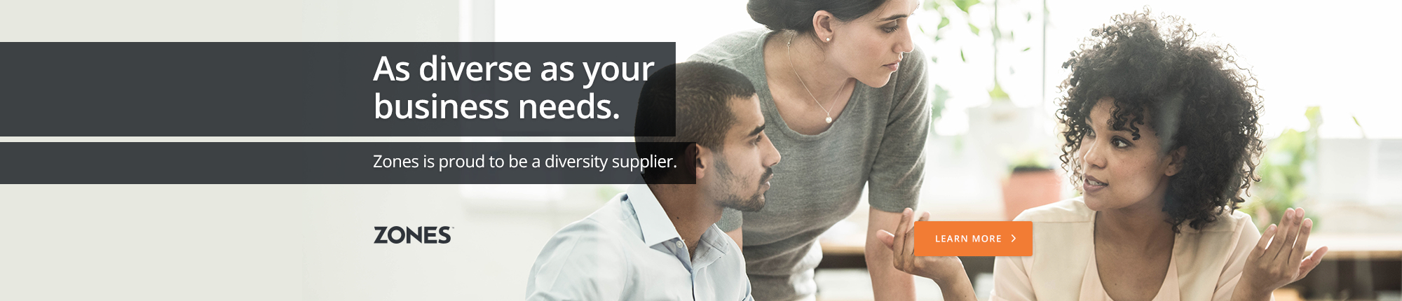 As diverse as your business needs. Zones is proud to be a diversity supplier.