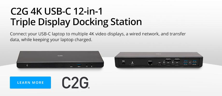 C2G 4K USB-C 12-in-1 Triple Display Docking Station