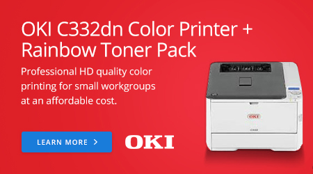 OKI C332dn Color Printer + Rainbow Toner Pack