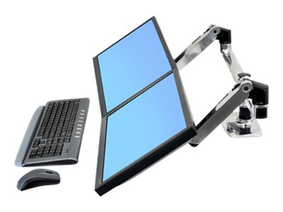 ergotron lx dual monitor side by side desk clamp arm up to 27in